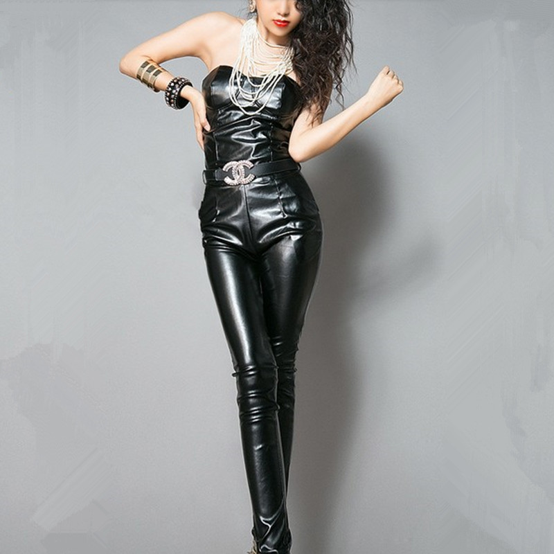 Free Shipping 2017 New Fashion Elegant Sexy Tube Top Black PU Leather Jumpsuit Women Summer Sleeveless Rompers Skinny Jump Suit