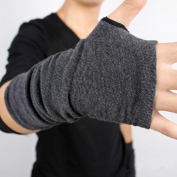 Winter Autumn Knitted Thicken Warm Wool Fingerless Long Short Thicken Gloves Mittens For Women Men
