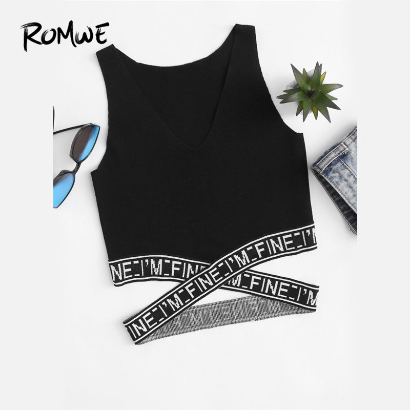 ROMWE Black Letter V Neckline Criss Cross   Tank     Top   Spring Summer Fall Ladies Round Neck Casual Sexy Slim Fit   Tank