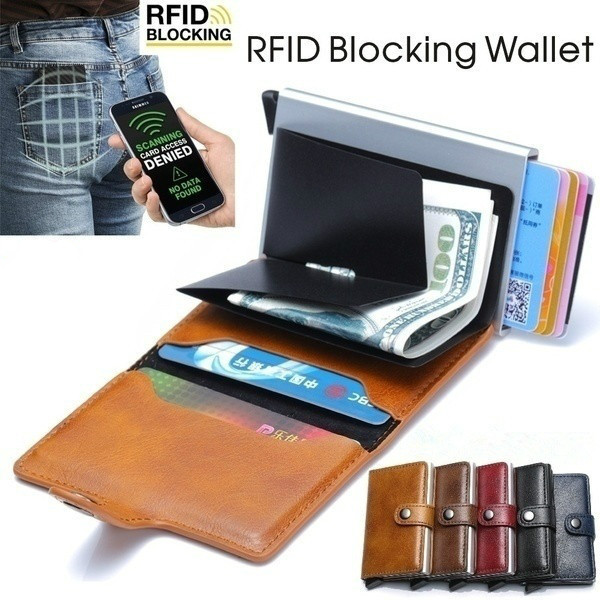 1pc RFID Protection Leather Slim Money Clip Front Pocket Wallet Thin Holder Credit Card Wallets Card package Double metal boxes