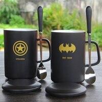 خارقة سوبرمان الرجل العنكبوت باتمان الهيكل ثور نقيب أمريكا الرجل الحديدي غطاء ملعقة مقبض السيراميك القدح كوب حليب القهوة فخار