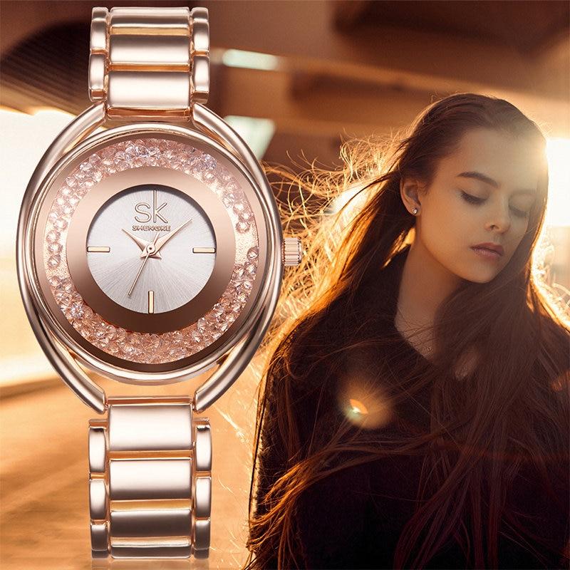 Shengke Rhinestone Luxury Design Crystal Dress Clock Female Gold Girls Bracelet Clock Quartz Watch Woman Wristwatch Relojes SK dropshipping woman leather rhinestone rivet chain quartz bracelet wristwatch watch new design 2016 dec08 send in 2 days