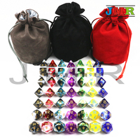 Promotion 2 color 49 Dice Pcs with Nebula Translucent Effect,D4,d6,d8,d10,d%,d12,d20 Polyhedral Dice, Rpg Game Dice with A Bag