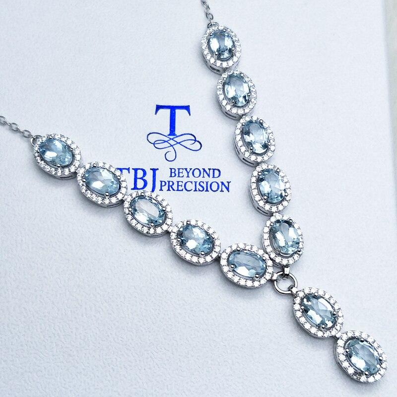 TBJ, collier pendentif en argent 925 de luxe naturel oval4 * 6mm 4.8ct bonne couleur aigue-marine pour femmes cadeau d'anniversaire vêtement quotidien