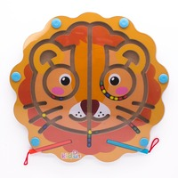 Children's Educational Wooden Toys Children Wooded Magnet Maze Puzzle Lion Head Pattern Games Early Education Tools