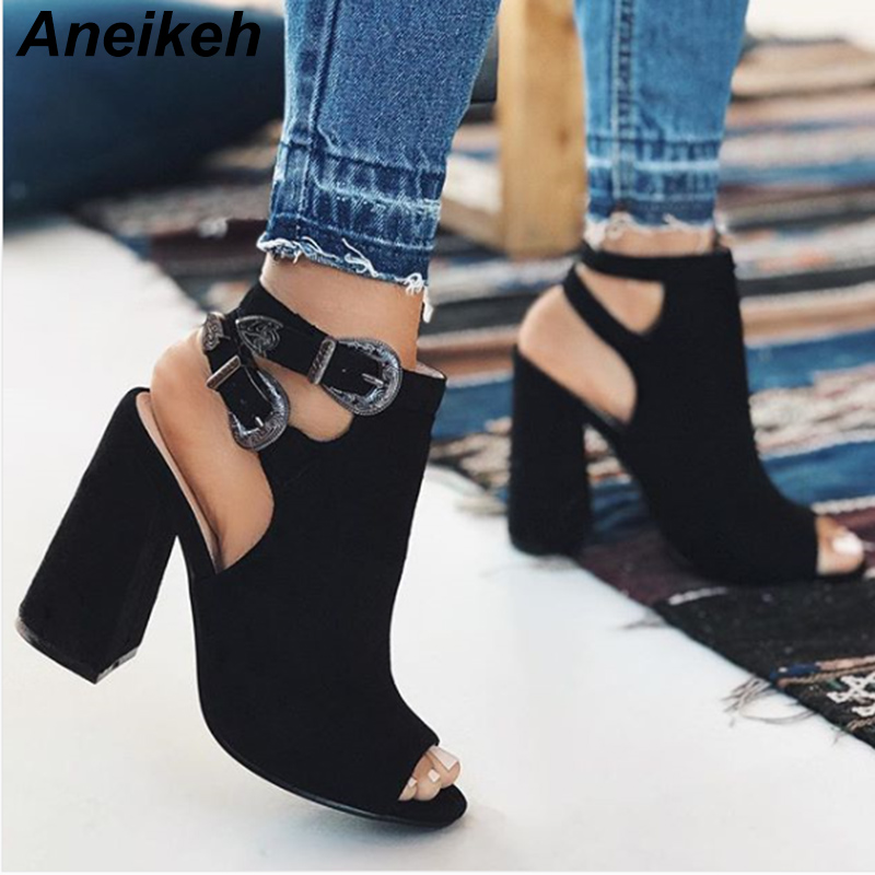 Shoes 2019 Women Ankle Strap Sandals Snake Print Square Heel Fashion Pointed Toe Ladies Fashion Shoes New Women Sandals 16.54 Women's Shoes