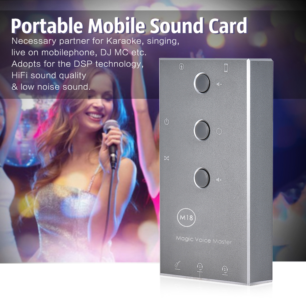 HiFi Karaoke System Smartphone Mobile Digital External Sound Card 8 Sound Effects Micro USB Charging Port for Singing Recording musiland 01us mark2 usb hifi external sound card hardware decoding dsd support 32bit 384khz