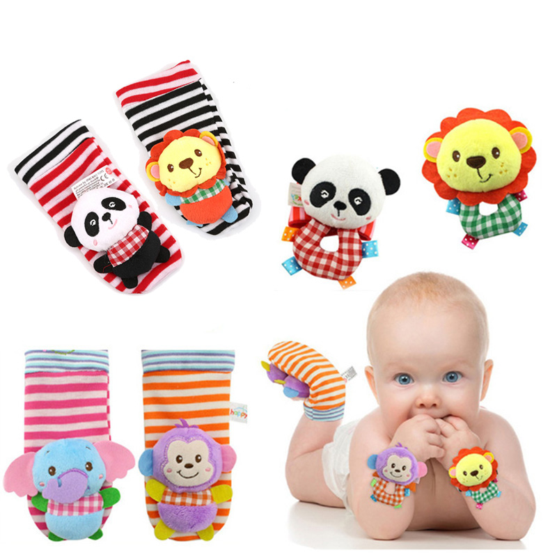 Baby Soft Plush Cartoon Zebra Socks Wrist Strap Rattle Set Educational Newborn Handbells Hand Foot Sock Rattle Toy 0-24 Months
