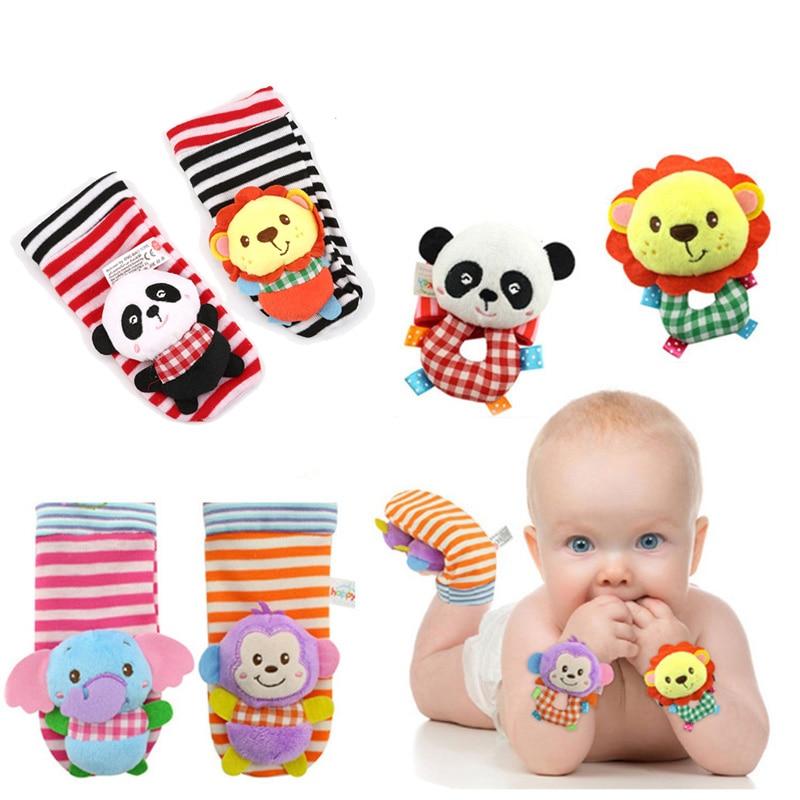 Baby Soft Plush Cartoon Zebra Socks Wrist Strap Rattle Set Educational Newborn Handbells Hand Foot Sock Rattle Toy 0-24 Months