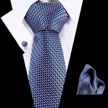 New Design Tie Set Jacquard Weave Silk Gravata Handkerchief Cufflinks Pocket Square Men Necktie for Wedding