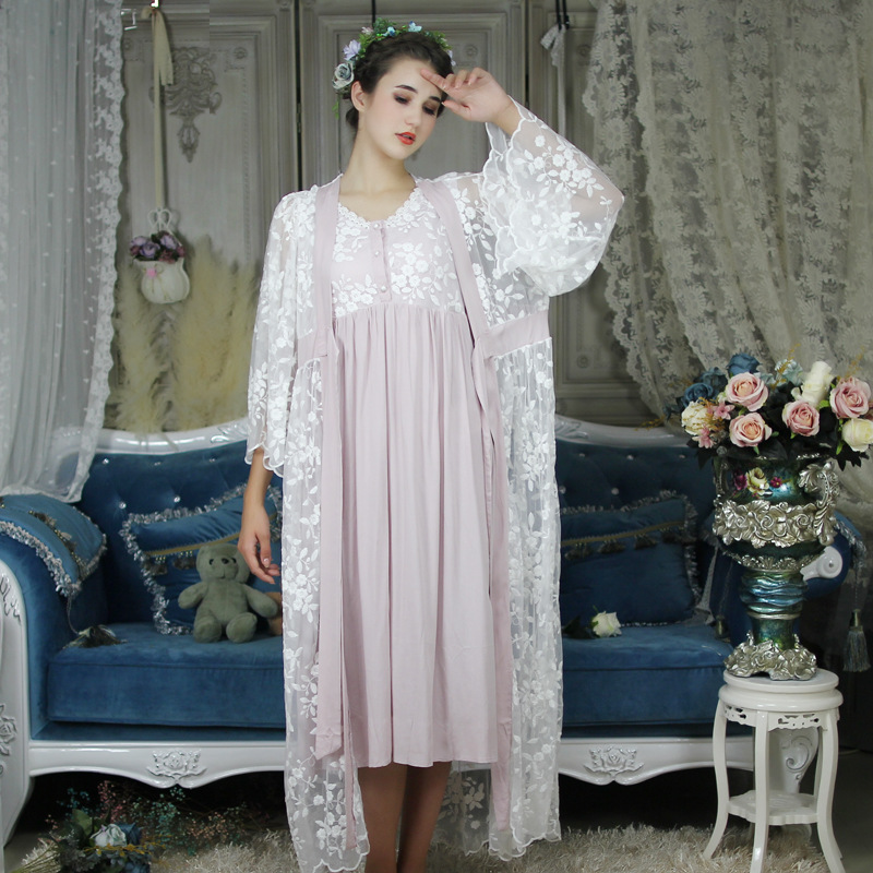 Autumn Cotton Women Embroidered Rob Sets White 2 Pieces Lace Nightgowns Long Sleeve Retro Solid Color