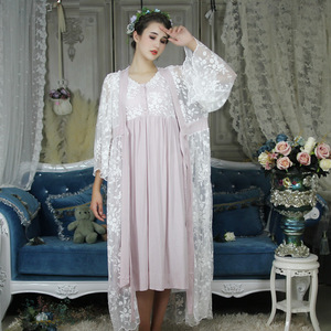 Image 2 - Autumn Cotton Women Embroidered Rob Sets White 2 Pieces Lace Nightgowns Long Sleeve Retro Solid Color Sleepwear Home Wear  063