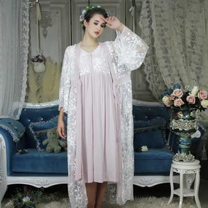 Image 2 - Mùa thu Cotton Nữ Thêu Cướp Bộ Màu Trắng 2 Mảnh Ghép Váy Ngủ Ren Dài Tay Retro Màu Đồ Ngủ Mặc Nhà 063