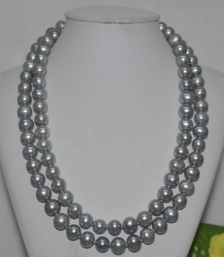 double strands 9-10mm tahitian south sea silver grey pearl necklace 1819double strands 9-10mm tahitian south sea silver grey pearl necklace 1819
