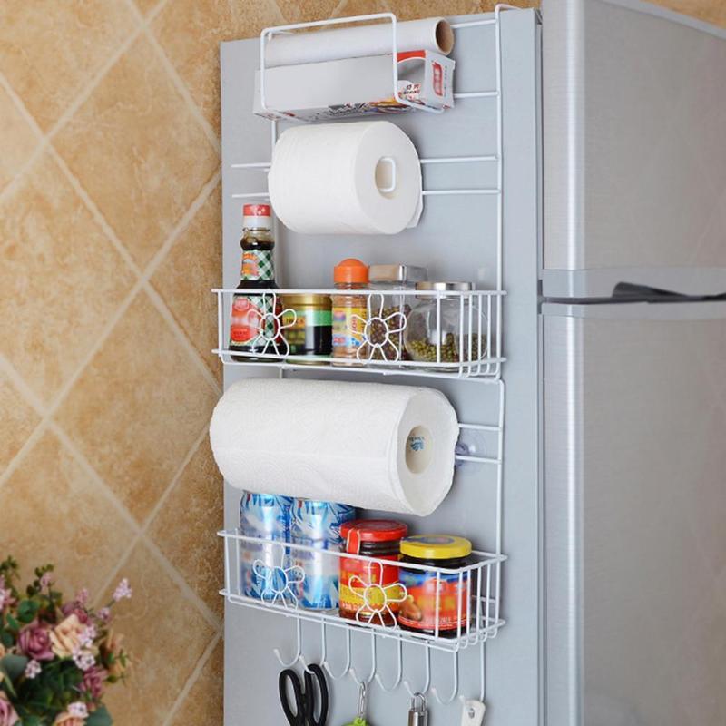 Estante de almacenamiento de pared para nevera multiusos, estante de cocina multicapa, botella de toalla, soporte de especias, organizador de utensilios de cocina