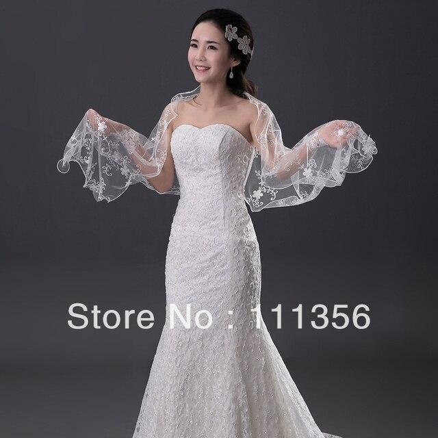 Sexy Wedding Bridal lace shawl Ivory white Wraps Cloak Bolero coat shrug Jackets