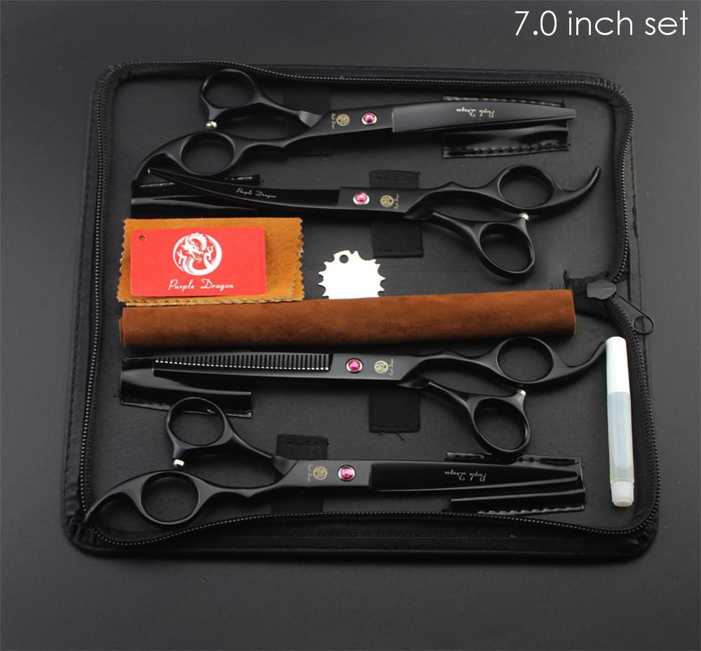 "Purple Dragon Professional Pet Grooming Scissors Set 7"" 8"" Straight+Thinning+Curved Scissors Cat Dog Shears Hair Cutting Tools 11"