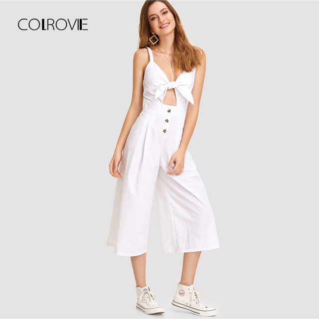 fe47f171a46d COLROVIE White Knot Cutout Front Wide Leg Jumpsuit 2018 Summer Deep V Neck  Sleeveless Bow Tie Jumpsuit Vacation Women Jumpsuit
