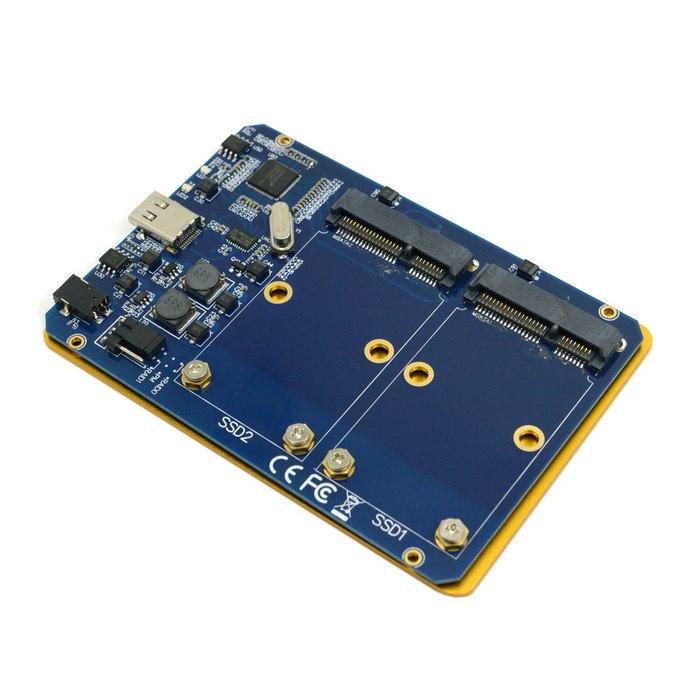 CY Silver USB-C USB 3.1 Type C To Dual 50mm MSATA PCI-E SSD Enclosure With Raid Raid0 Raid1 Or PM