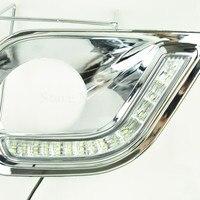 Waterproof 12V Car LED DRL Daytime Running Lights With Fog Lamp Hole For TOYOTA RAV4