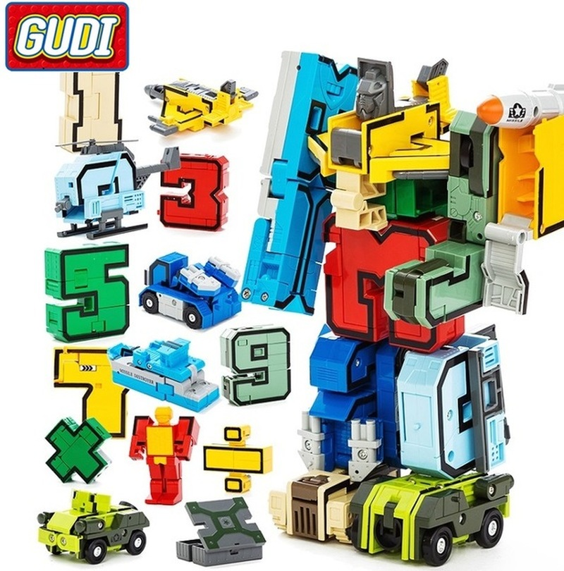 Model Building Gudi 10 15pcs Creative Assembling Educational Action Figures Transformer Number Robot Deformation Plane Car Kid Toys Finger Cube Aromatic Character And Agreeable Taste