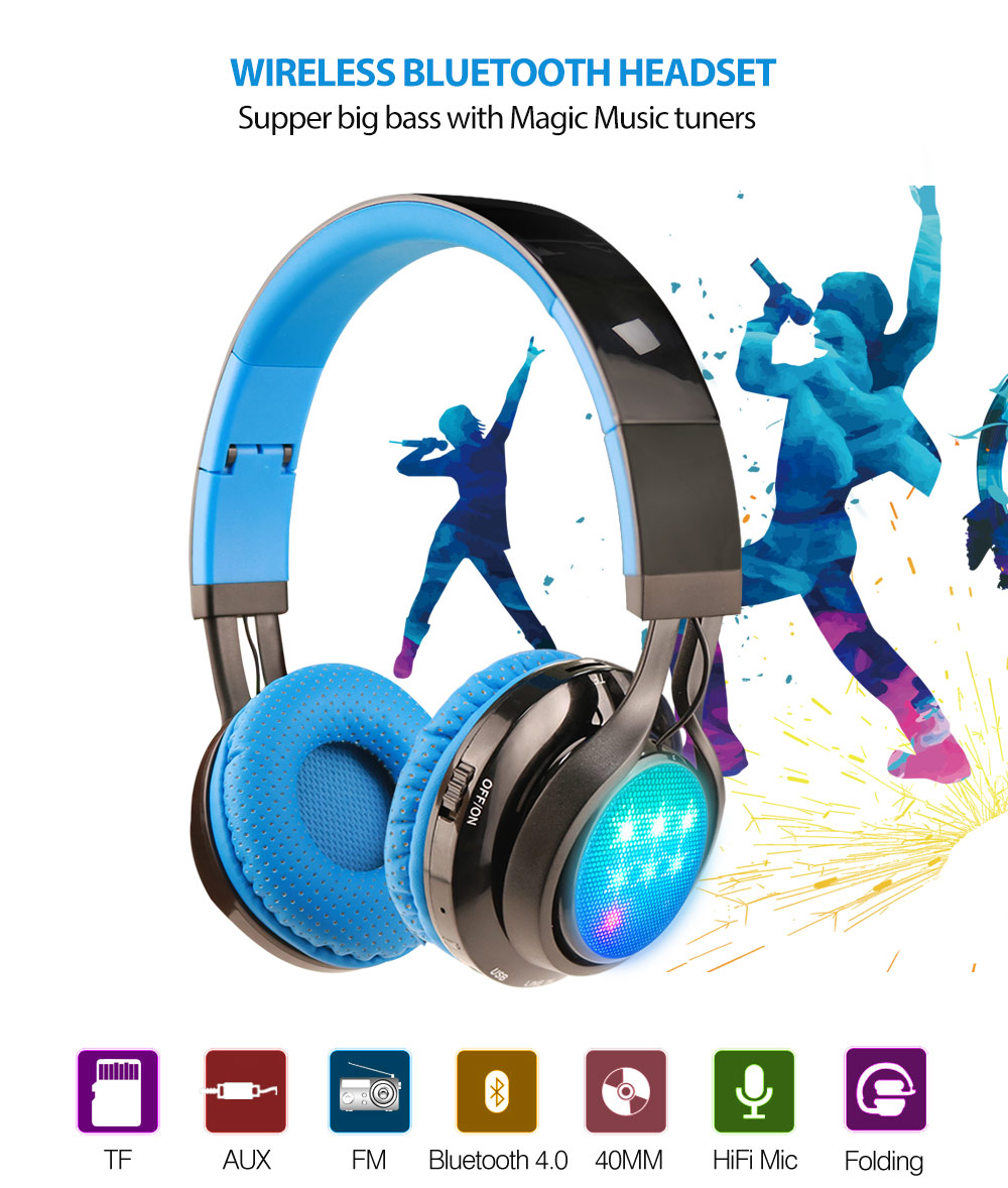 Wireless Stereo Bluetooth Headset LED Foldable Headphone Earphone Support Mic 3.5mm AUX TF Card FM Radio for Smartphone Xiaomi 2017 new high end wireless bluetooth headphone stereo headset for iphone samsung xiaomi fm radio tf card mic aux mp3 lcd display