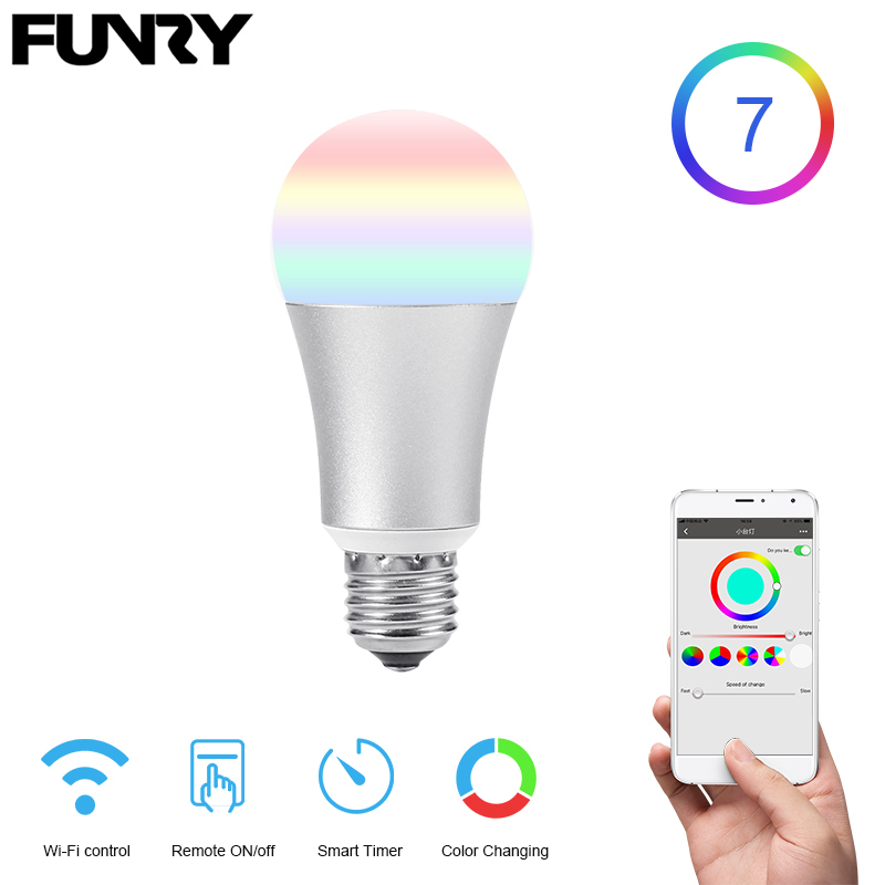 FUNRY WIFI TB-Y lamp bulb Smart led Light Bulb E27 Dimmable RGB Color Changing Lights Remote Control Light Bulbs Work With Alexa