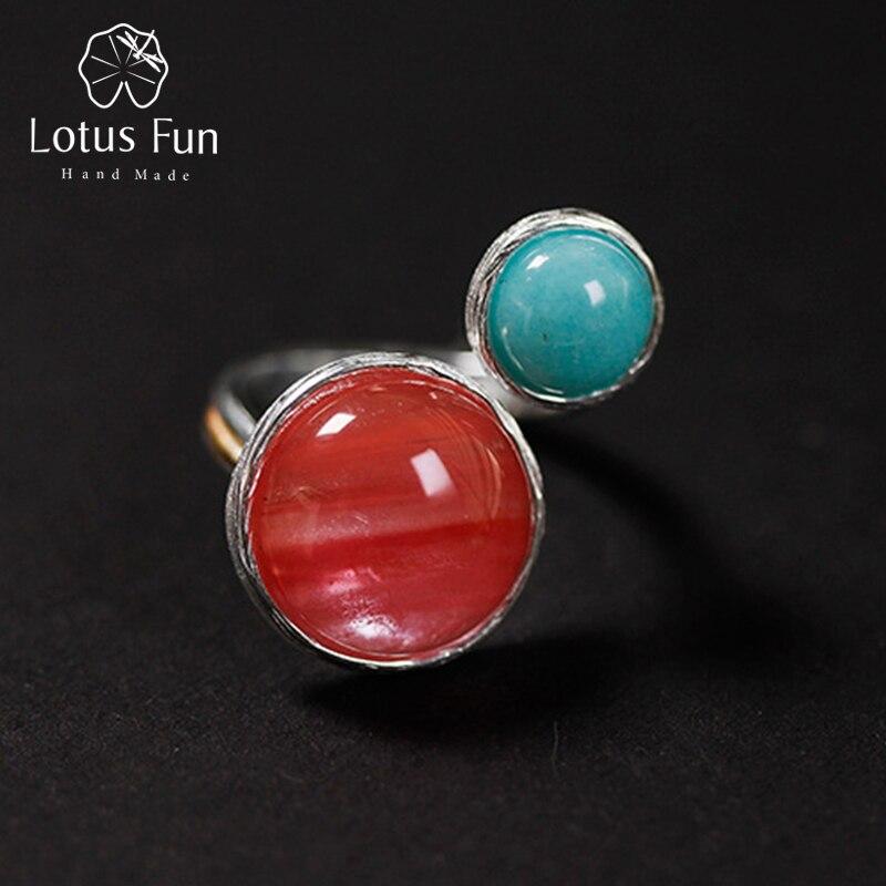 Lotus Spaß Echt 925 Sterling Silber Natürliche Stein Kreative Handgemachte Designer Edlen Schmuck Süßigkeiten Haus Ringe für Frauen Bijoux