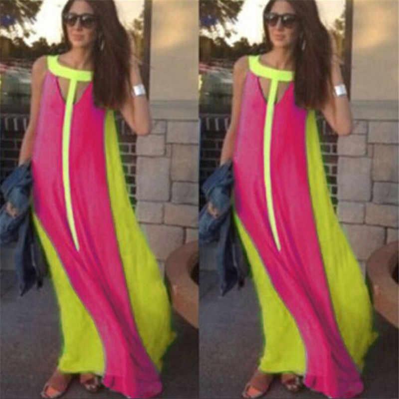 2020 Celmia Bohemian yaz plaj elbise kadınlar seksi kolsuz Maxi uzun elbiseler Casual Hollow bayanlar şifon parti Vestidos Robe