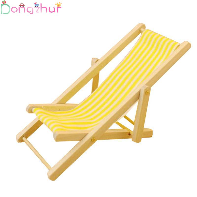 Mini Beach Chair Red/blue/yellow Striped 1:12 Dollhouse Accessoreis Outdoor Loungers Beach Chair Doll House Miniature Kids Toy
