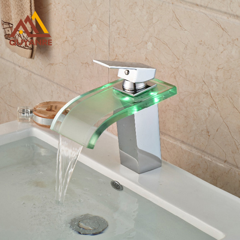 Free Shipping New LED Chrome Finish Waterfall Deck Mounted Basin Faucet Vessel Sink Mixer tap free shipping gold clour wall mounted vessel sink faucet basin waterfall faucet
