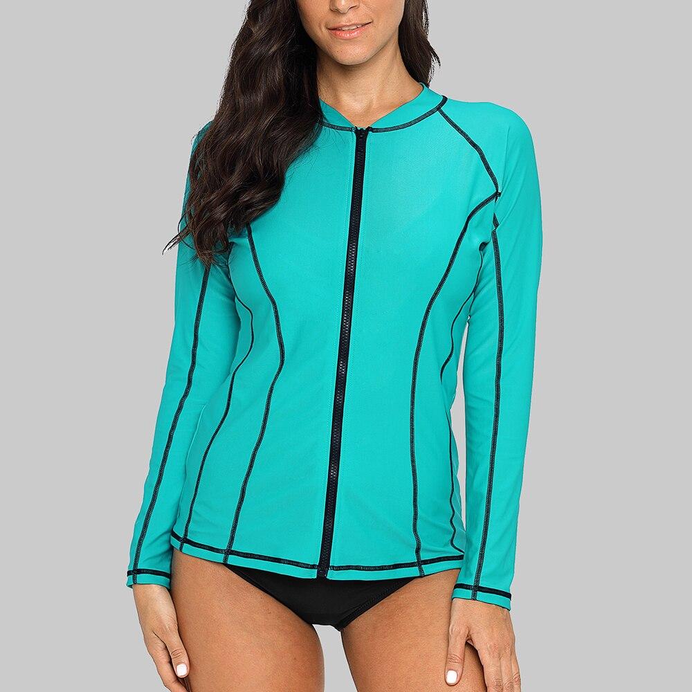 0a1a8d680ec Charmleaks Women Long Sleeve Zipper Rashguard Swimsuit Running Shirt  Swimwear Surfing Top Rash Guard Zipper UPF50+ Hiking Shirt