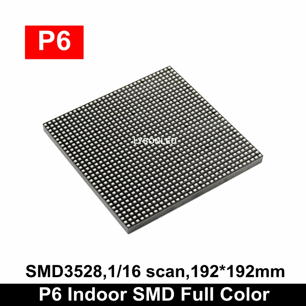 LYSONLED P6 Indoor SMD3528 Full Color Led Display Module, Indoor / Semi-outdoor Advertising LED Video Billboard P6 Panel LED