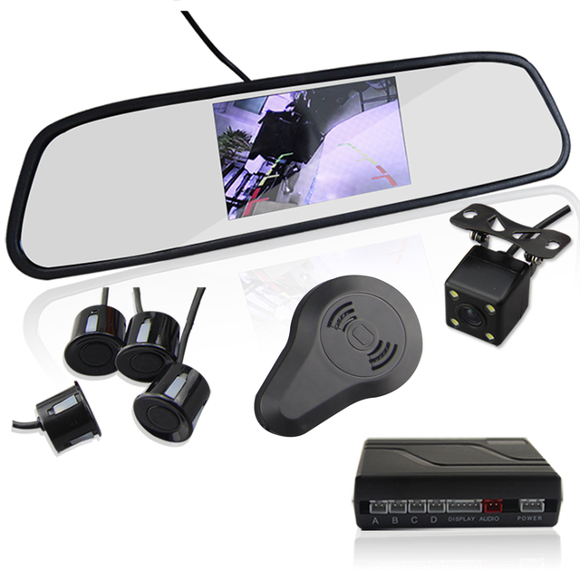 3in1 Video Parking Sensor Assistance Monitor 4.3inch TFT LCD Display + Alarm + Camera Video Rearview Mirror Reverse Radar System