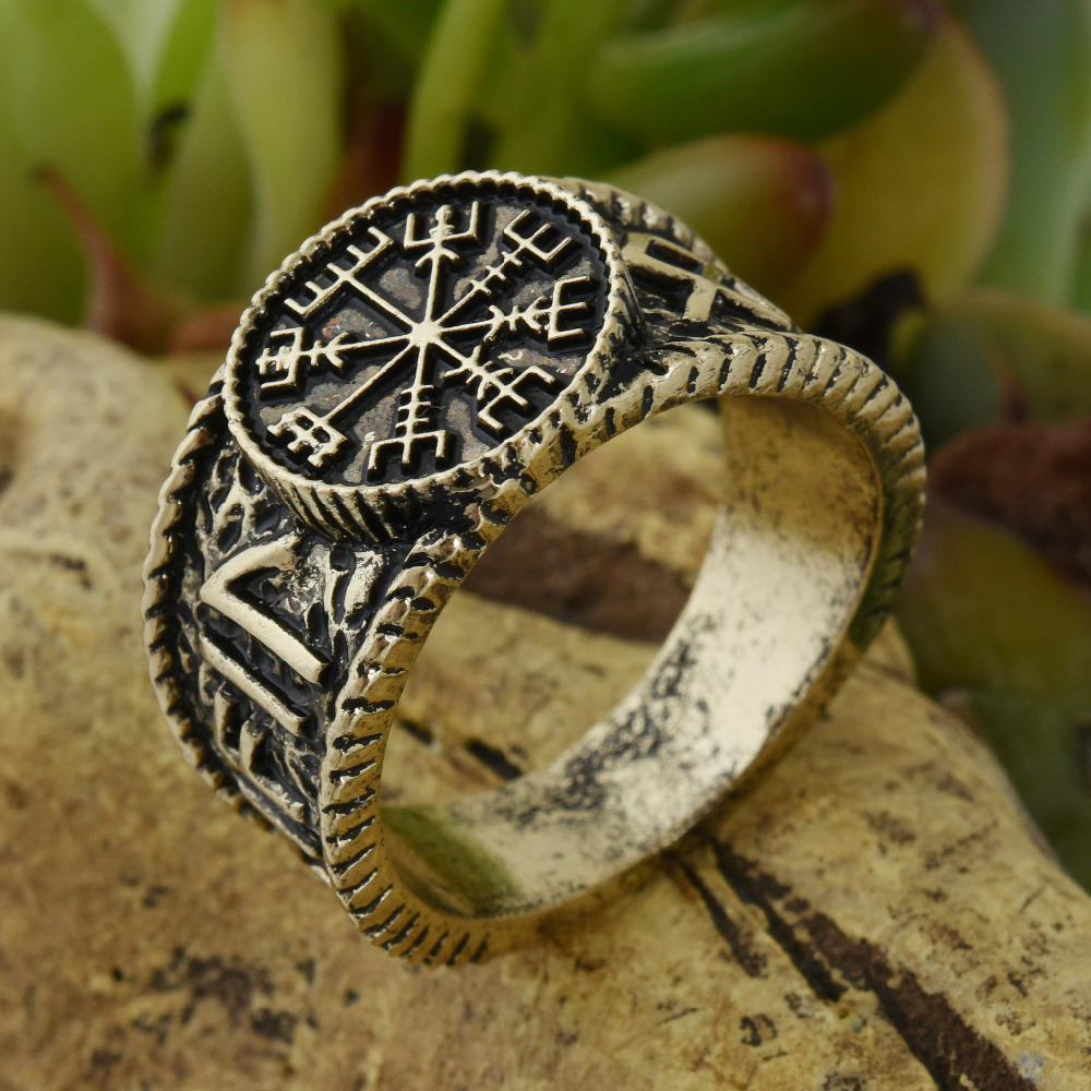 itm retro rings vintage vegvisir pirate viking compass for norse wedding nordic men jewelry