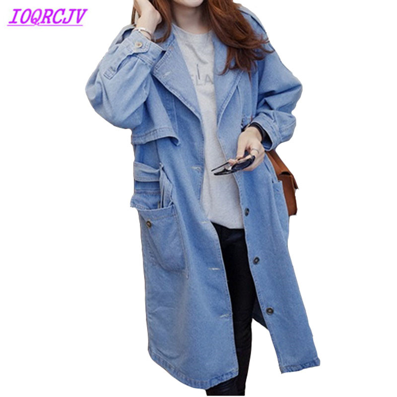 Denim trench coat for womens 2018 Spring autumn Large size jeans Windbreaker Loose female Casual tops long coats IOQRCJV H516