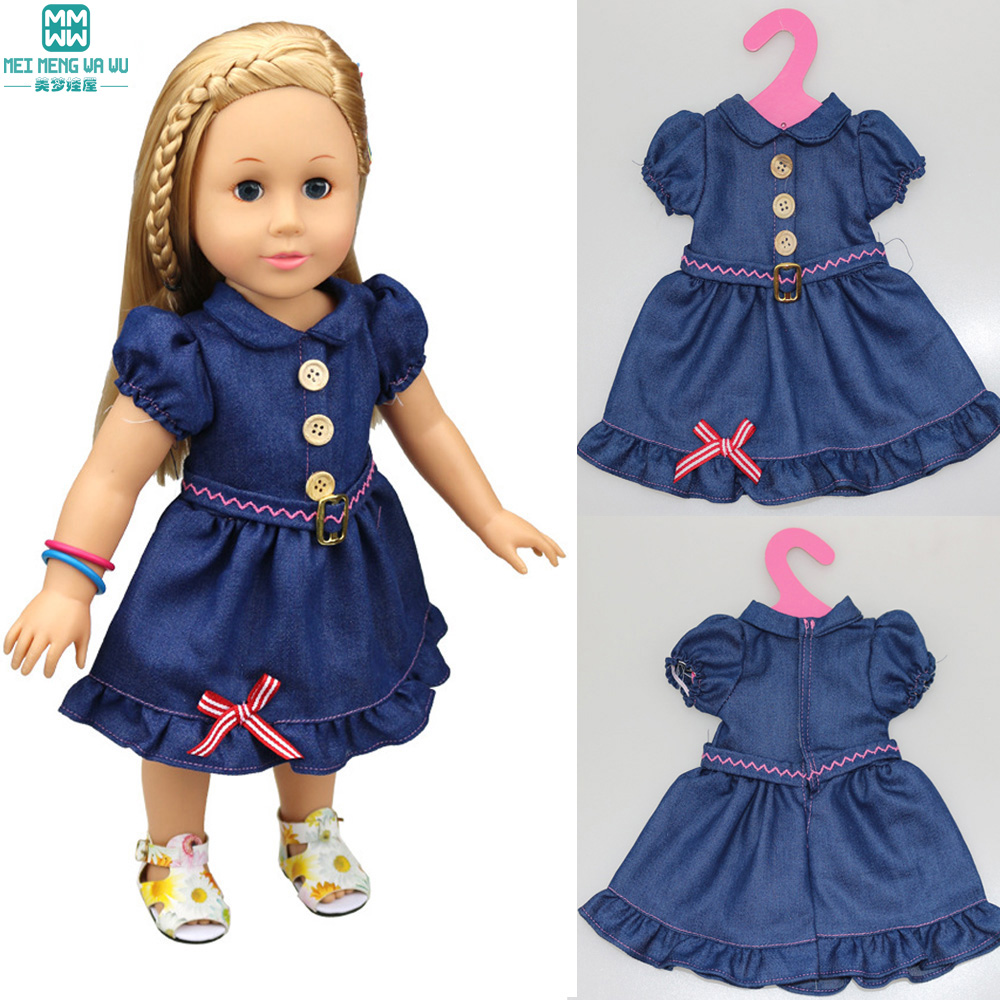 Doll accessories clothes denim dress for 18 inch 45cm Baby Born zapf  American girl  our generation doll