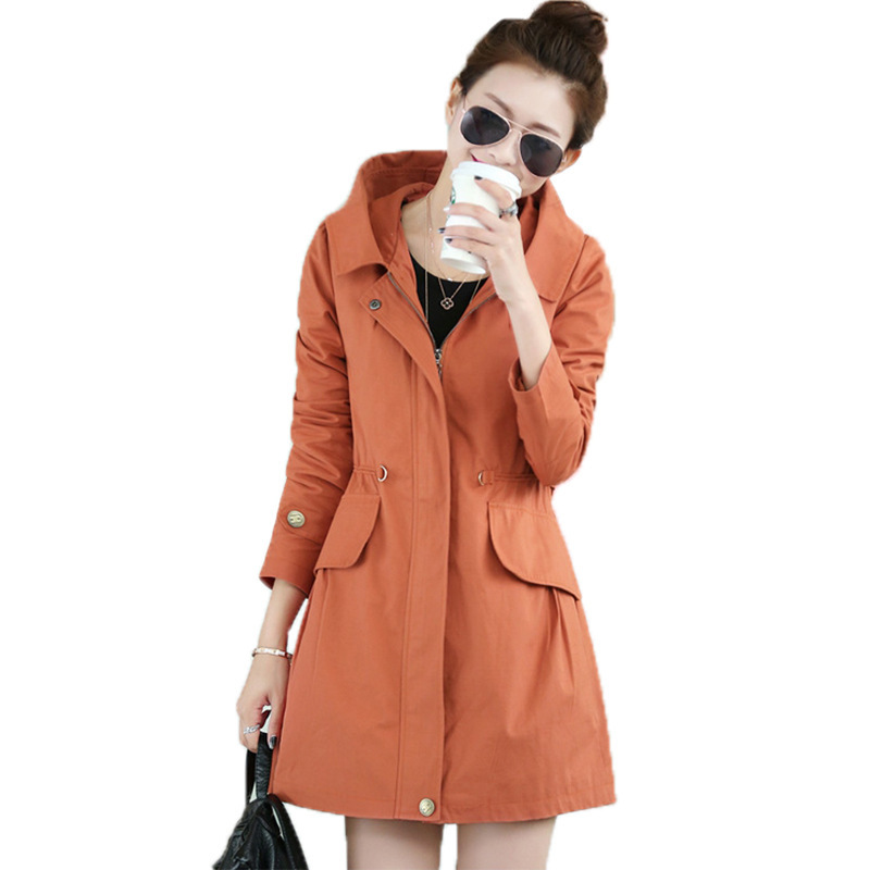 2017 Autumn Women Trench Coat Medium Long Hooded Outwear Slim Waist Letter Embroidery Trench OL Outwear Causal Windbreaker F400