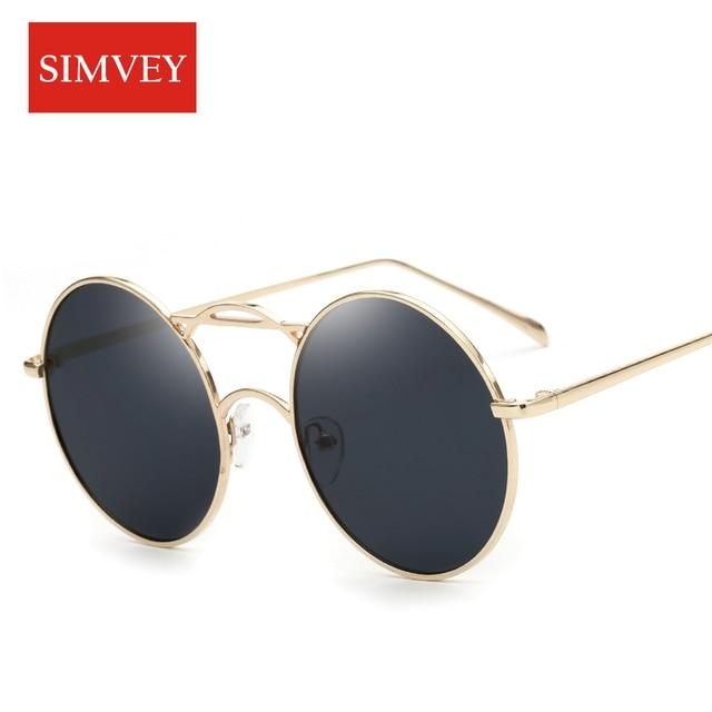b6b0257b4a Simvey moda tendencia mujeres redondo grande Gafas de sol Retro Vintage  marca diseñador lente círculo Sol