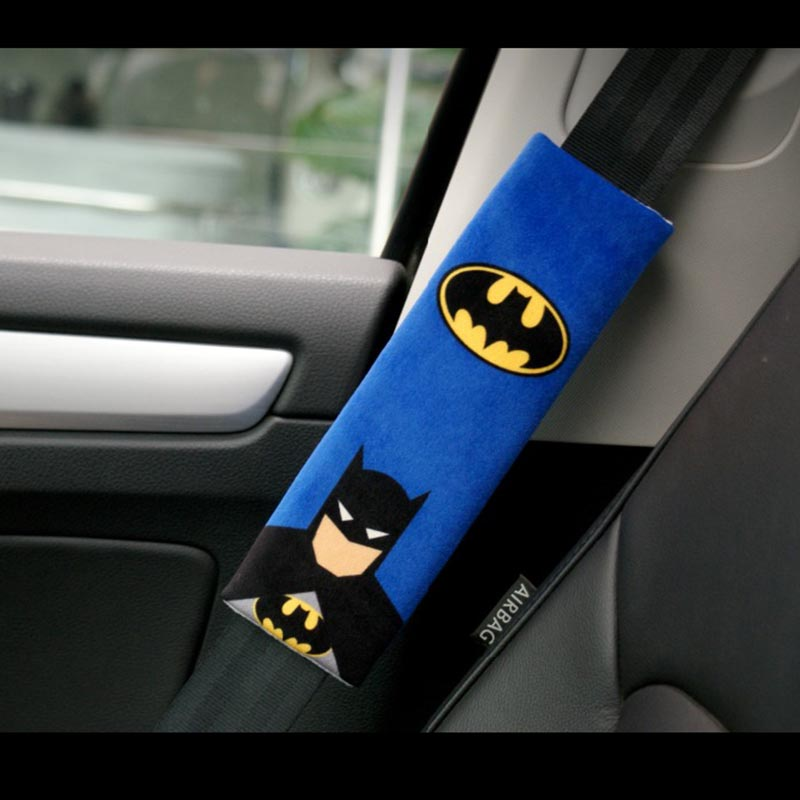 1 Pair Cartoon Avtomobil Sefety Seat Belt Cover Batman Superman Auto Emniyet kemerinin Protection Padding Winter Plush Avtomobil seatbelts Çiyin