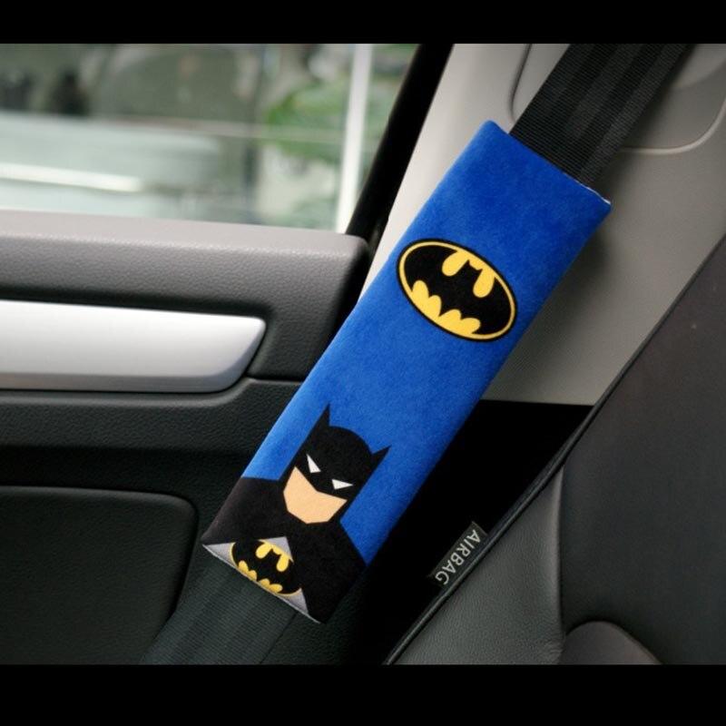 1 Pair Cartoon Car Sefety Seat Belt Cover Batman Superman Auto Seatbelt Shoulder Protection Padding Winter Plush Car Seatbelts