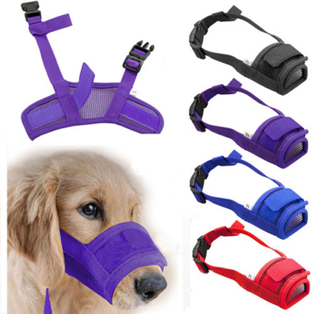 Adjustable Mesh Dog Muzzle Safety Stop Chewing Biting Barking Safe Dog Children
