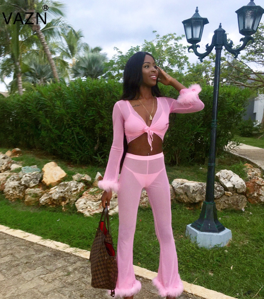 Women's Clothing Impartial Vazn Spring 2019 High Quality Women 4-pieces Feathers Solid Bodycon Sets Lady V-neck Full Sleevetops Long Pants Jumpsuits Bn9152 Good For Antipyretic And Throat Soother