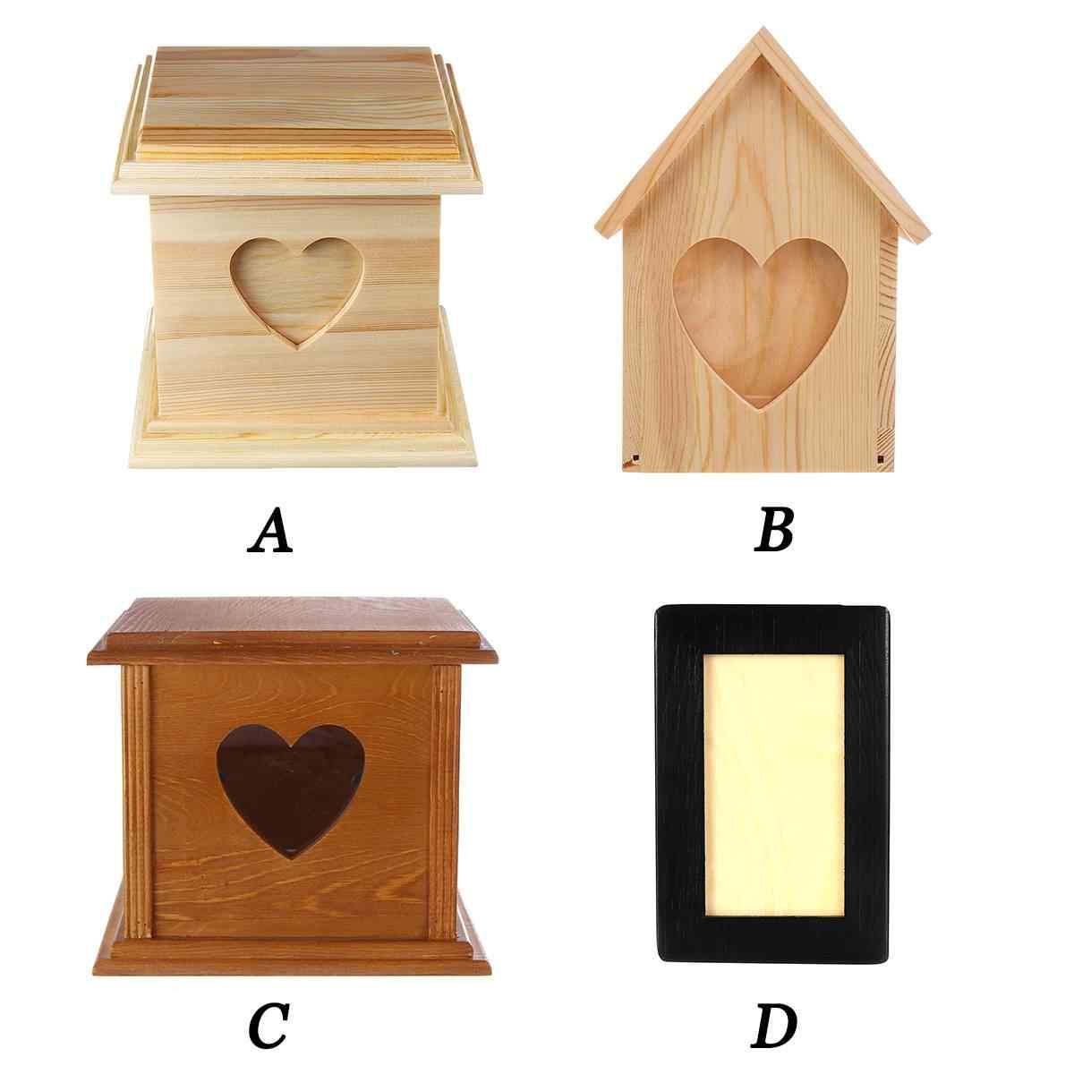 4 סגנון יכול לשים תמונה עץ כד לחיות מחמד חתול כלב ציפור חיות קופסאות בית עבור אפר שריפת גופות הלוויה זיכרון לחיות מחמד ארון כד תיבה