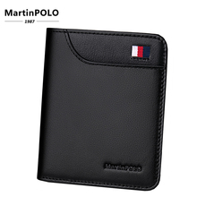 MartinPolo Mens Slim Wallet Short Mini Leather Coin Purse Pure Cow No Zipper Solid Business Classic