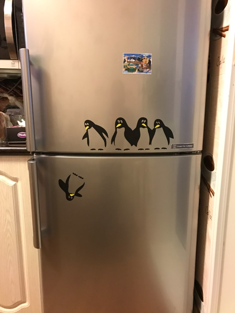 Free shipping! funny penguin kitchen fridge sticker fridge decals ...