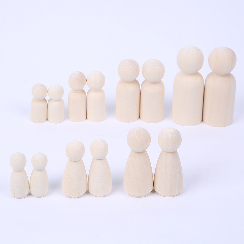 Wholesale 35-65mm Wooden Peg Dolls Natural Unfinished DIY Turnings-Ready Paint-Waldorf Girl Baby Wooden Doll Teether Wood Beads