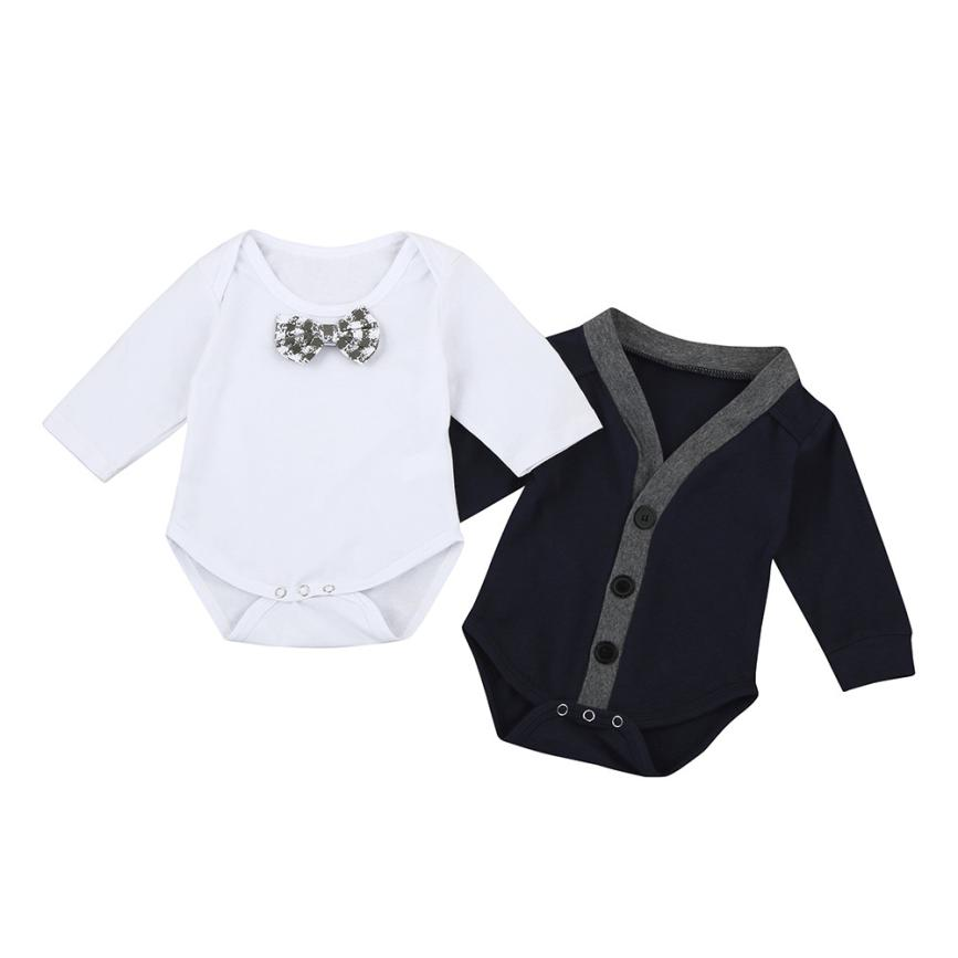 2Pcs Cute autumn Newborn Kid Baby Bow Boys Outfits Clothes Romper Set Long Sleeve fashion soft 0-24M body infantil lowest price ...