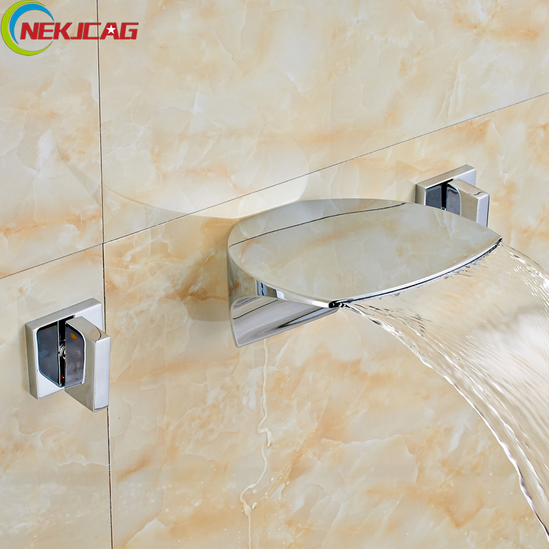Wall Mounted Bathroom Waterfall Basin Sink Faucet Dual Handle Brass Chrome WC Washing Taps Dual Handle free shipping high quality chrome finished brass in wall bathroom basin faucet brief sink faucet bf019