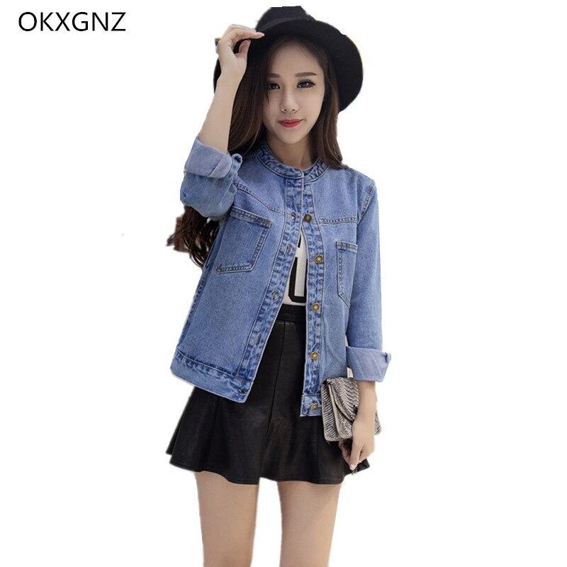 Okxgnz mujeres short denim jacket coat 2017 primavera/antumn vintage cowboy chaq